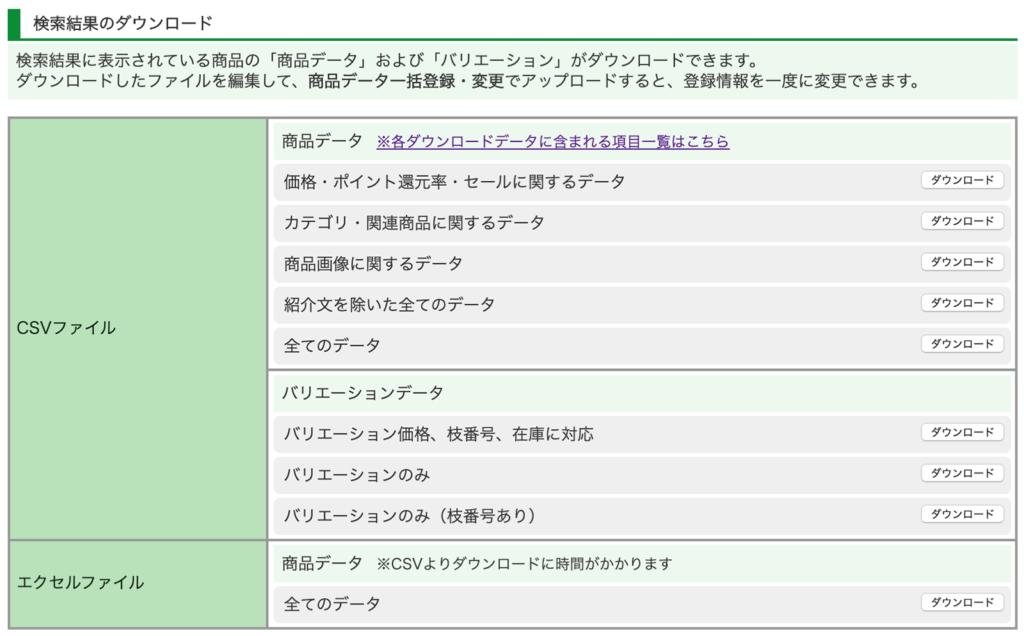 ショップサーブ 商品登録画面 csv一括登録画面